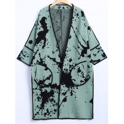 Chinese Painting Pocket Woolen Cardigan