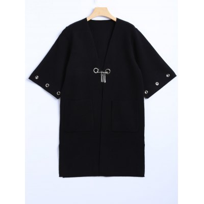 Plus Size Open Front Coat with Pocket