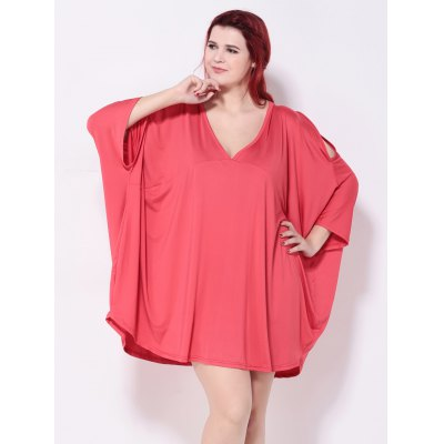 Asymmetric Cold Shoulder Batwing Sleeves Dress