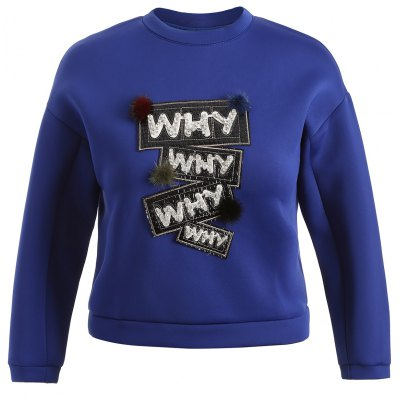 Why Graphic Pompon Embellished Sweatshirt