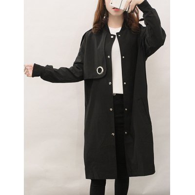 Single Breasted Long Coat With Pocket