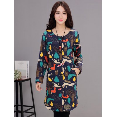 Button Up Printed Quilted Coat with Pocket
