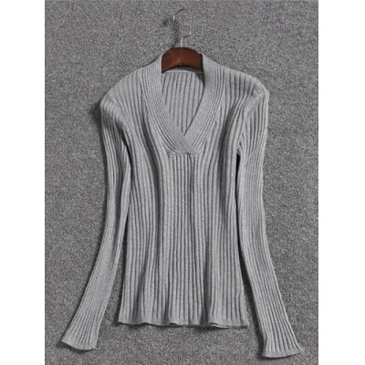 V Neck Long Sleeve Pullover Knit Sweater