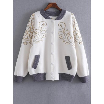 Stand Neck Embroidered Cardigan