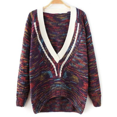 Plunging Neck Space Dyed Sweater