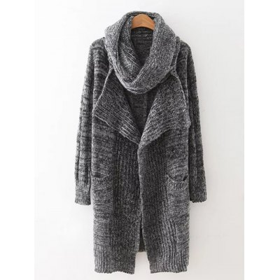 Drape Front Long Cardigan With Non-Detachable Scarf