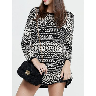 Chevron Pattern Long Sweater