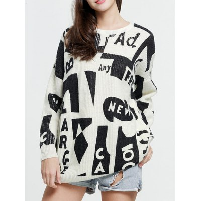 Dropped Shoulder Graphic Mohair Sweater