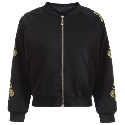 Zipper Design Embroidered Bomber Jacket