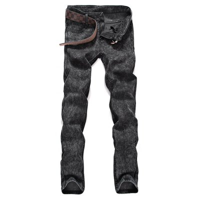Mid Waist Zipper Fly Snow Washed Jeans
