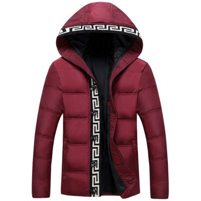 Knit Trim Button Up Hooded Padded Jacket