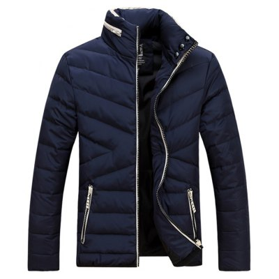 Contrast Zipper Stand Collar Padded Jacket