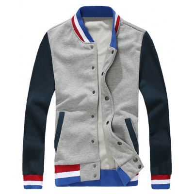 Contrast Color Insert Snap Button Up Jacket