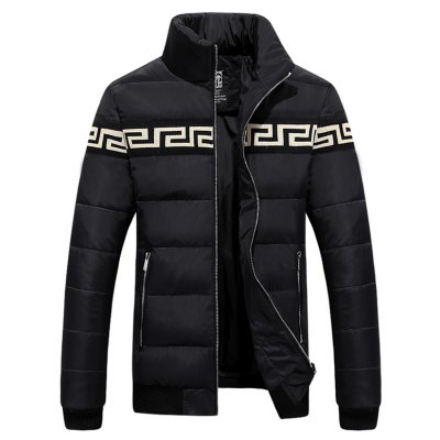 Zippered Rib Cuff Paneled Padded Jacket