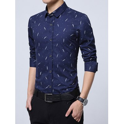 Polka Dot Plant Printed Long Sleeve Shirt от GearBest.com INT