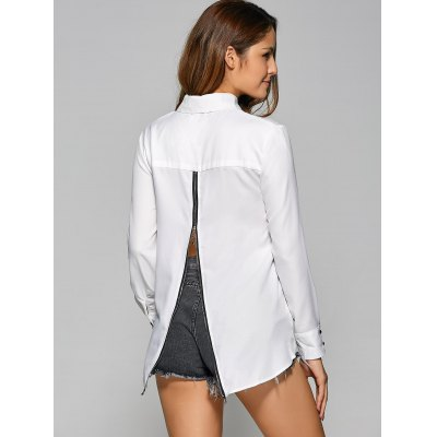 High Low Back Zip Chiffon Shirt
