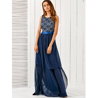 Lace Panel Chiffon Formal Bridesmaid Maxi Prom Ball Gown Dress