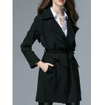 cheap Belted Trench Wrap Coat