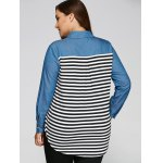Plus Size Striped Back Denim Patchwork Shirt for sale