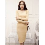 cheap Knitted Furcal Bodycon Dress