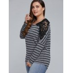 cheap Plus Size Lace Shoulder Striped T-Shirt