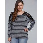 Plus Size Lace Shoulder Striped T-Shirt