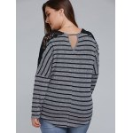 Plus Size Lace Shoulder Striped T-Shirt deal