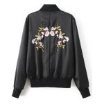 cheap Stand Neck Floral Embroidered Fall Bomber Jacket