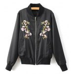 Stand Neck Floral Embroidered Bomber Jacket