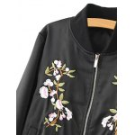 Stand Neck Floral Embroidered Fall Bomber Jacket deal