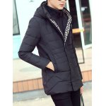 cheap Snap Button Pocket Zip Up Hooded Quilted Coat