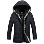Snap Button Pocket Zip Up Hooded Quilted Coat for sale
