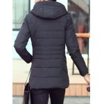 Snap Button Pocket Zip Up Hooded Quilted Coat deal