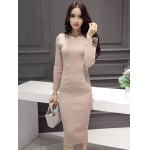 Slimming Beaded Design Knitted Bodycon Dress