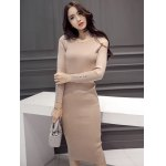 cheap Slimming Beaded Design Knitted Bodycon Dress