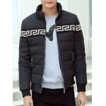 cheap Zippered Stand Collar Rib Cuff Paneled Padded Jacket