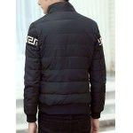 Zippered Stand Collar Rib Cuff Paneled Padded Jacket for sale