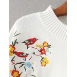 Mock Neck Bird Embroidered Knitwear deal