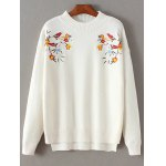 Mock Neck Bird Embroidered Knitwear