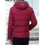 Knit Trim Button Up Hooded Padded Jacket for sale