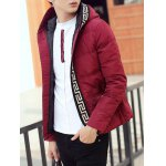 Knit Trim Button Up Hooded Padded Jacket deal
