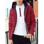 cheap Knit Trim Button Up Hooded Padded Jacket
