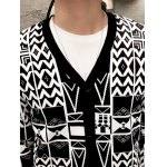 V-Neck Button Up Geometric Pattern Cardigan for sale