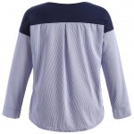 cheap Plus Size Pinstriped Patchwork T-Shirt