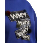 Why Graphic Pompon Embellished Sweatshirt photo