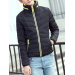 Contrast Zipper Stand Collar Padded Jacket deal