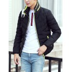 Contrast Zipper Stand Collar Padded Jacket for sale