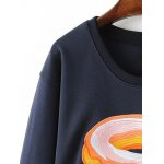 cheap Jewel Neck Bread Embroidered Sweatshirt