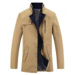 Button Up Zip Embellished Stand Collar Coat