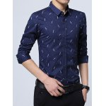 cheap Polka Dot Plant Printed Long Sleeve Shirt